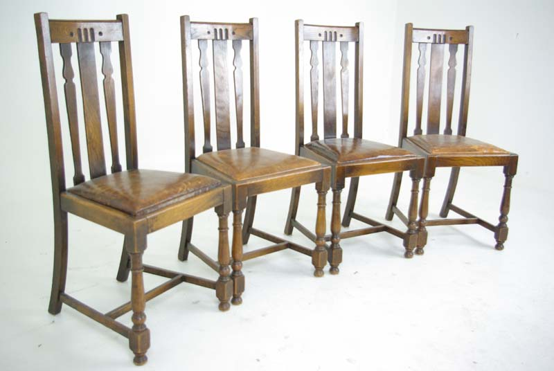 Antique Dining Chairs | Solid Oak Dining Chairs | Scotland, 1920's | B769 - Antique Dining Chairs Solid Oak Dining Chairs Scotland, 1920's