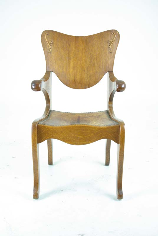 antique office chair - Antique Office Chair Library Chair Leather Seat Chair 1910 B804