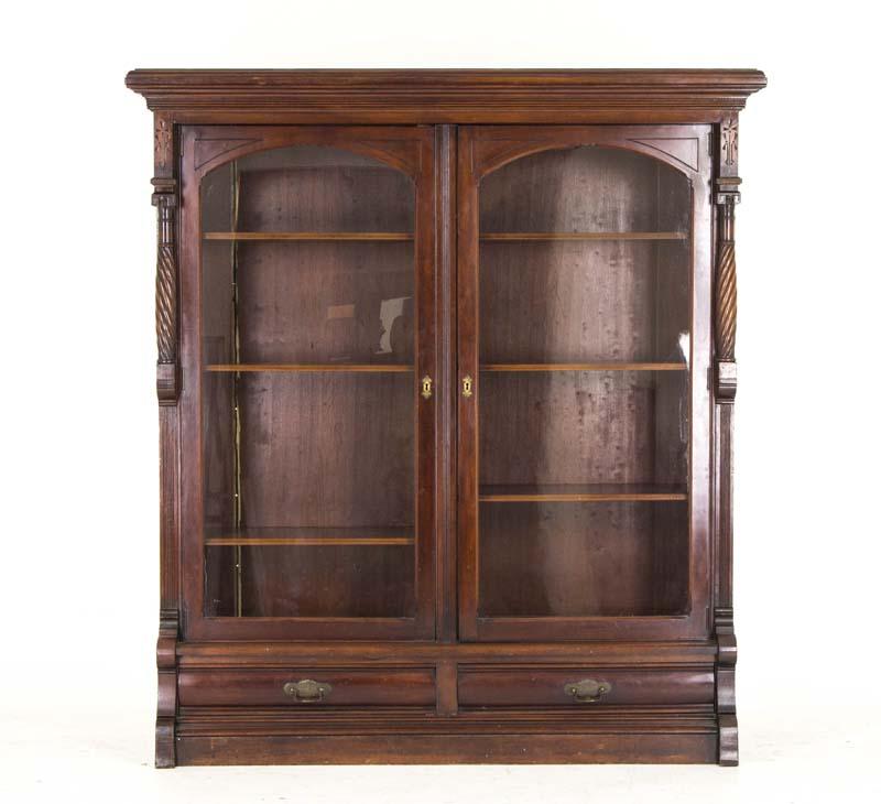 Eastlake Bookcase - Eastlake Bookcase Antique Display Cabinet Victorian Walnut B813