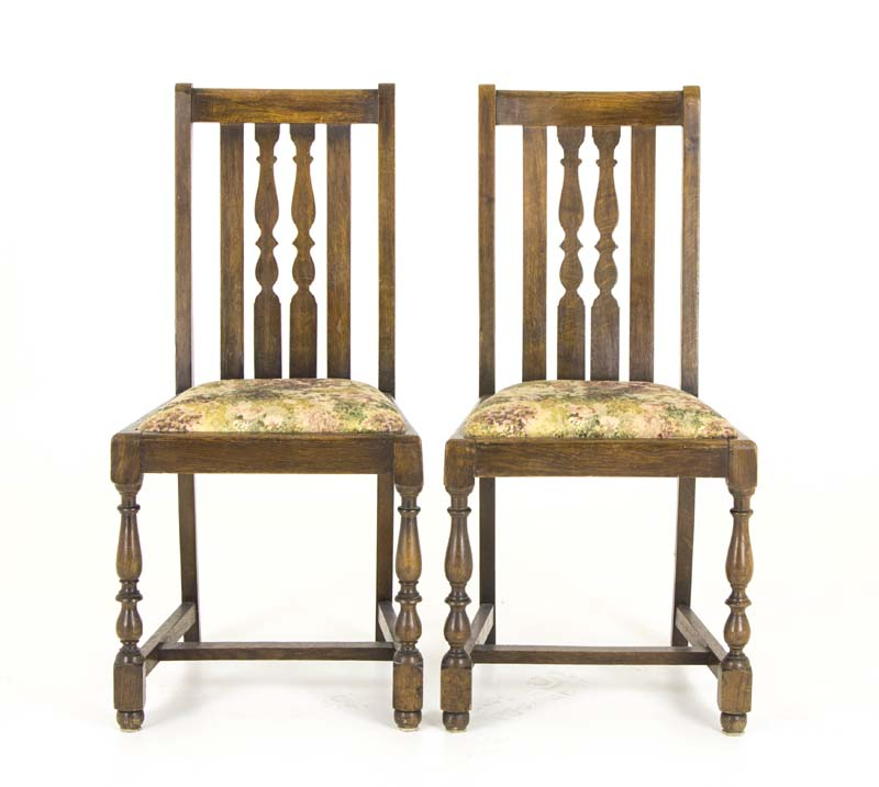 pair oak dining chairs - Pair Oak Dining Chairs Antique Chairs Scotland, 1920 B821