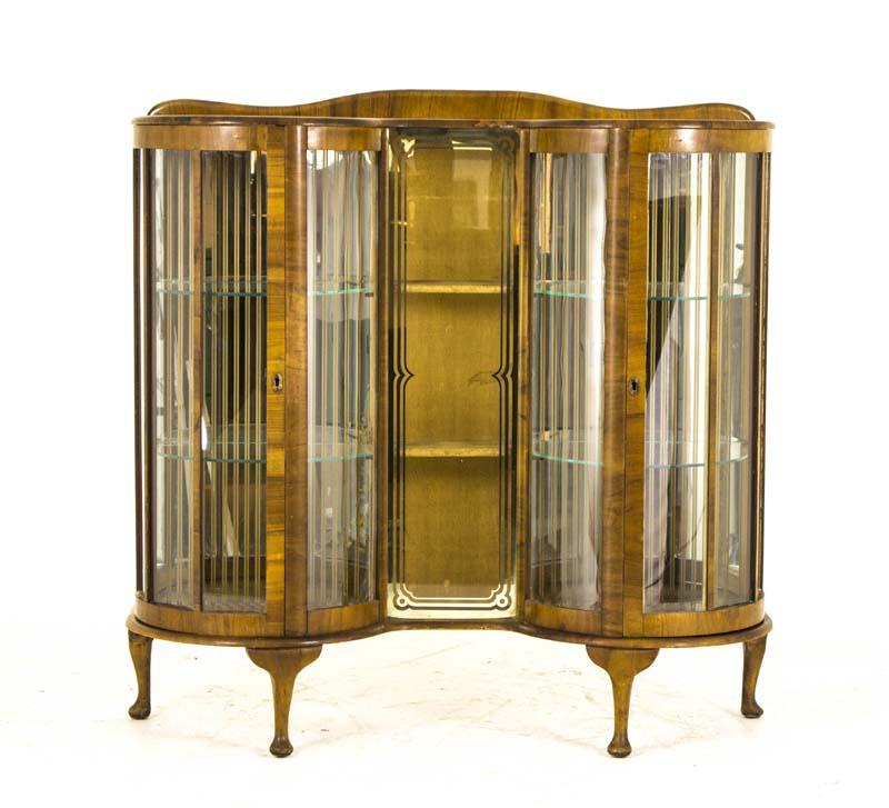 antique curio cabinet - Antique Curio Cabinet Art Deco Cabinet Curved Glass Scotland