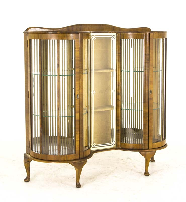antique curio cabinet - Antique Curio Cabinet Art Deco Cabinet Curved Glass Scotland