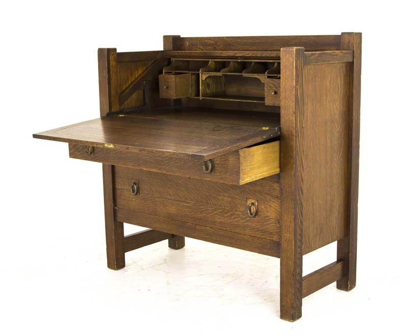 antique drop front desk - Antique Drop Front Desk Arts And Crafts Desk America, 1920 B807