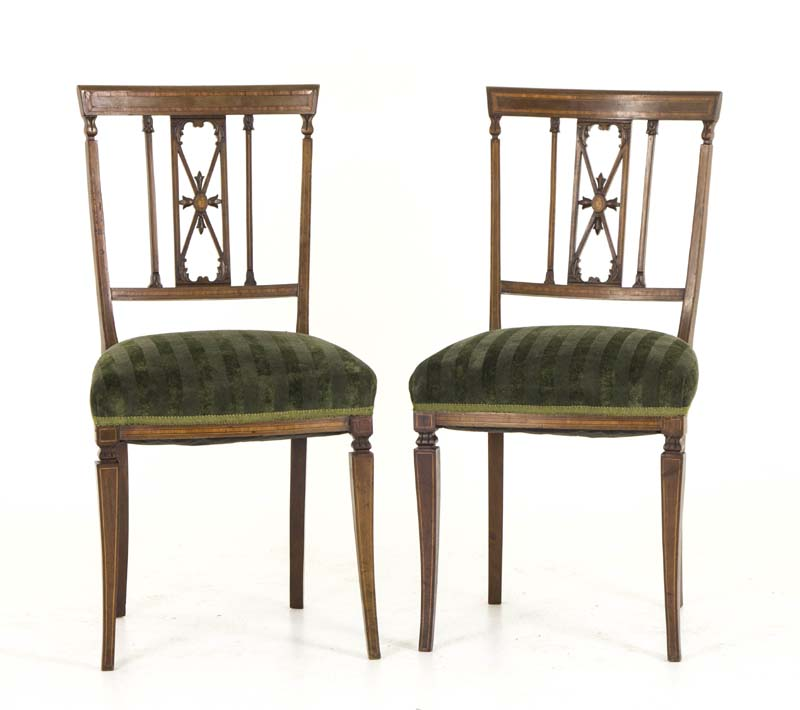 antique side chairs - Antique Side Chairs Mahogany Satinwood Inlay Scotland, 1890 B760