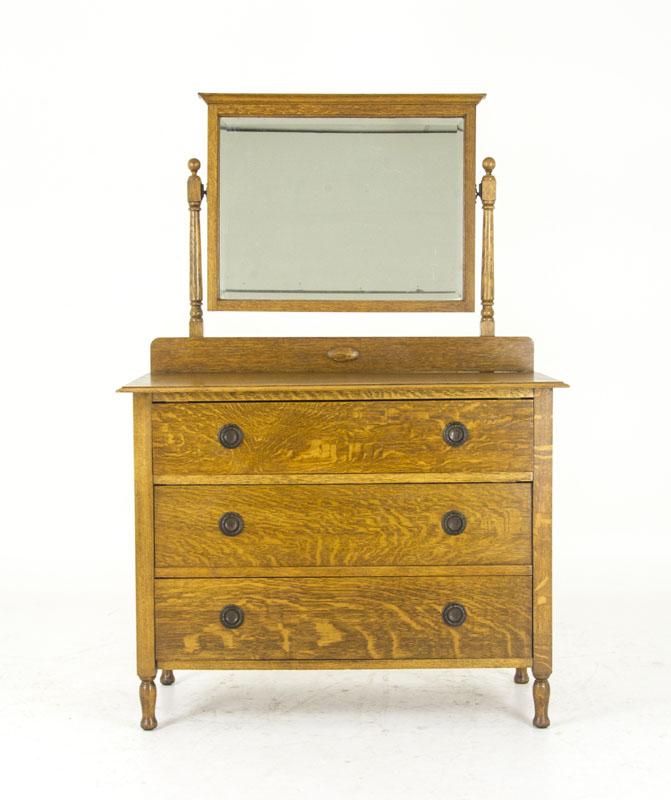 mirrored vanity - Mirrored Vanity Antique Tiger Oak Beveled Mirror Scotland B847