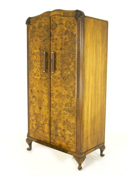 antique armoire art deco wardrobe burr walnut scotland 1930 b823. Black Bedroom Furniture Sets. Home Design Ideas