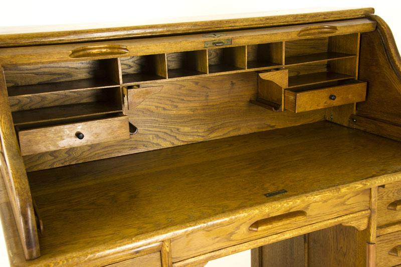 antique rolltop desk - Antique Rolltop Desk Pedestal Desk Oak Rolltop Canada1920 B860