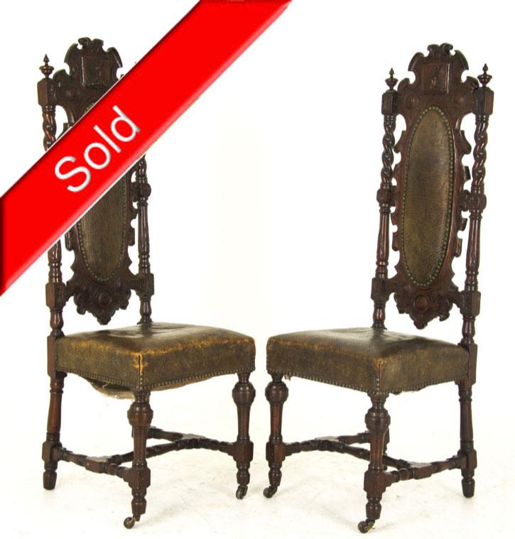 Renaissance Revival | Antique Hall Chairs | Scotland, 1880 | B825 - Antique Hall Chairs Renaissance Revival Scotland, 1880 B825