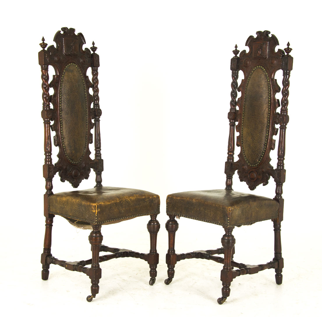 renaissance revival - Antique Hall Chairs Renaissance Revival Scotland, 1880 B825