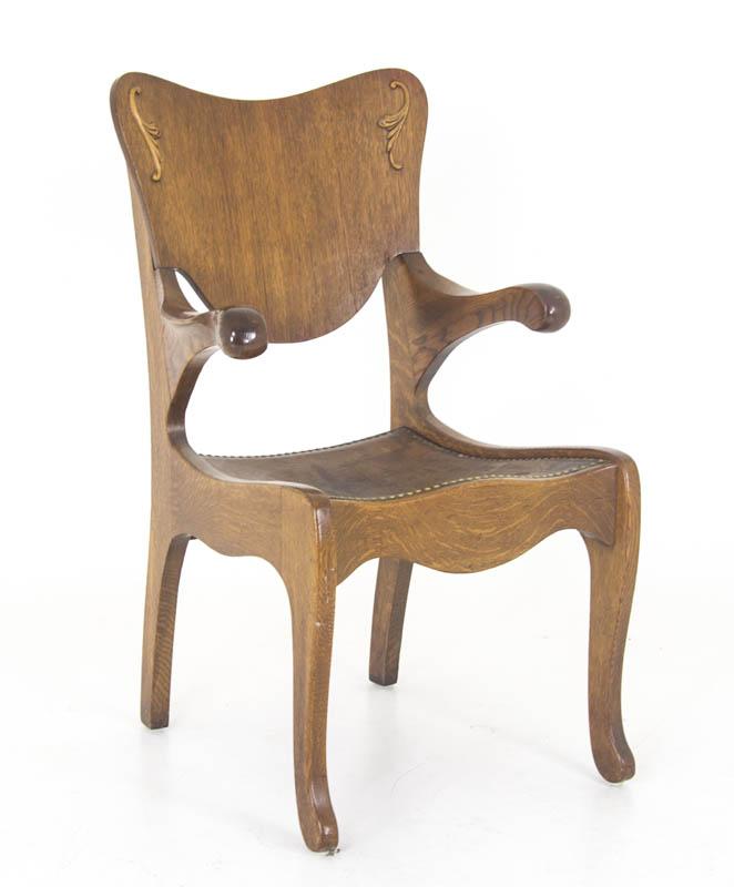 vintage office armchair - Vintage Office Armchair Tiger Oak, Leather Seat America, 1920