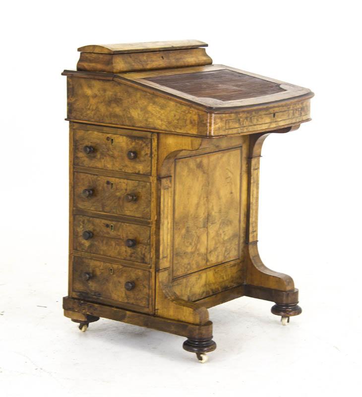DAVENPORT dESK - Antique Walnut Desk Davenport Desk Scotland, 1860 B840