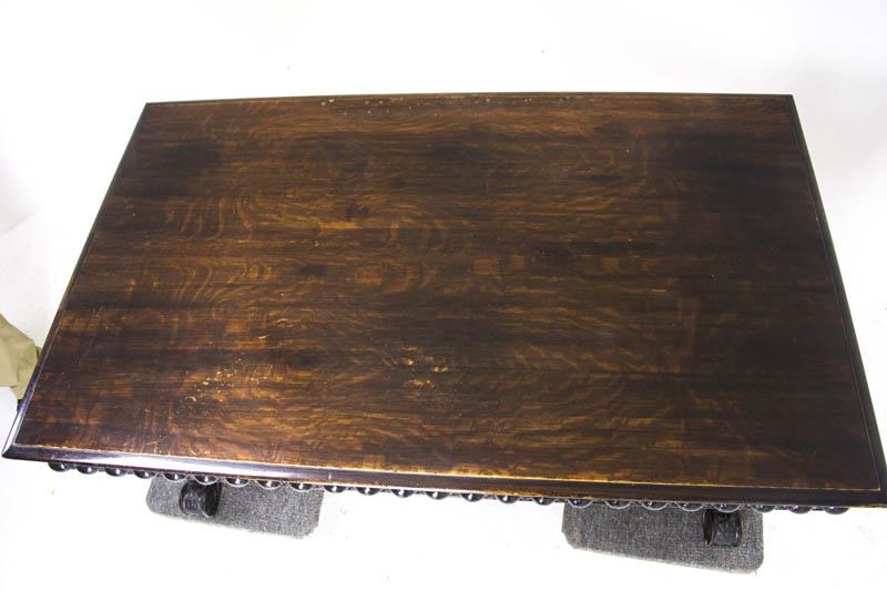 - Antique Partners Desk Carved Oak Writing Table Scotland, 1880 B885