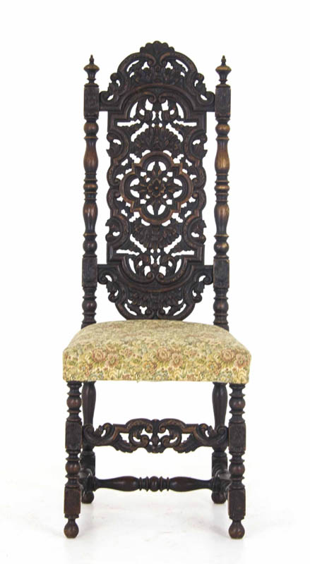 antique upholstered Chair - Antique Upholstered Chair Carved Oak Carolean Scotland, 1880 B884