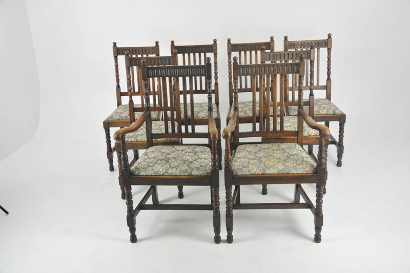 antique dining chairs - Antique Dining Chairs, 8 Highback Chairs, Oak, France 1900, B1098