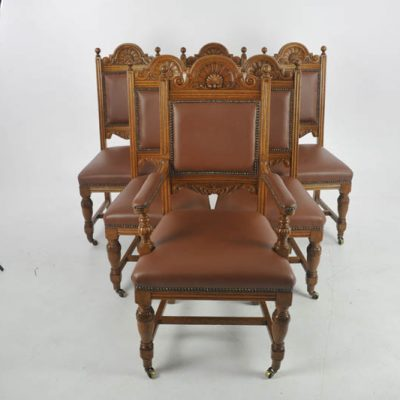 Antique Dining Chairs, Carved Oak, 6 Chairs (5+1), Scotland 1880, B1126 - Antique Barley Twist Chairs Archives - Heatherbrae Antiques