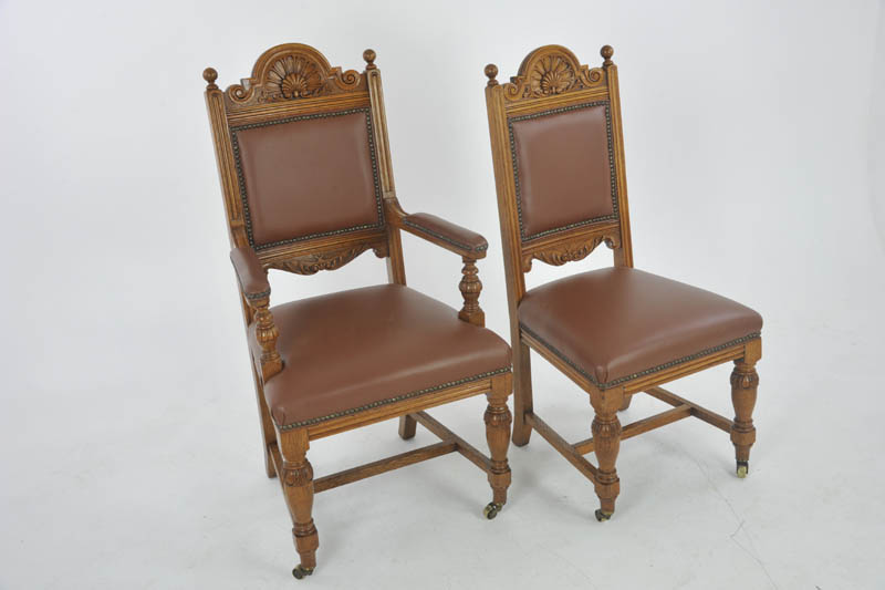antique dining chairs - Antique Dining Chairs, Carved Oak, 6 Chairs (5+1), Scotland 1880, B1126