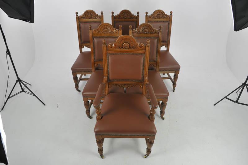 antique dining chairs - Antique Dining Chairs, Carved Oak, 6 Chairs (5+1), Scotland 1880, B1126