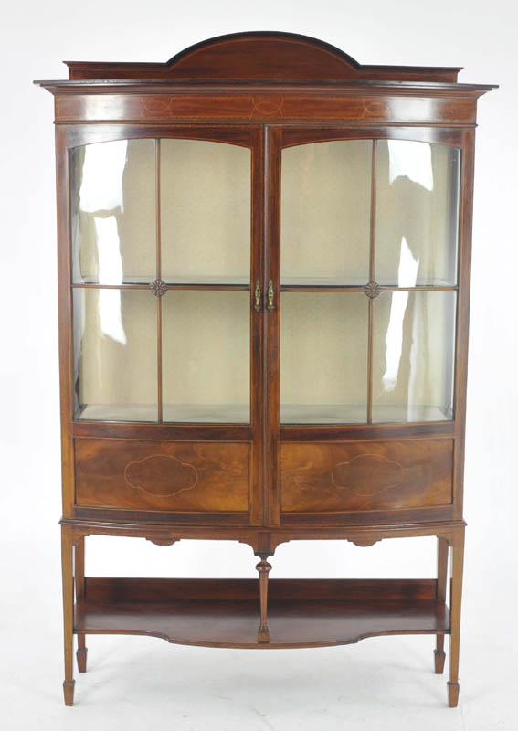 antique china cabinet - Antique China Cabinet, Inlaid Mahogany, Bow Front, Scotland 1910, B993
