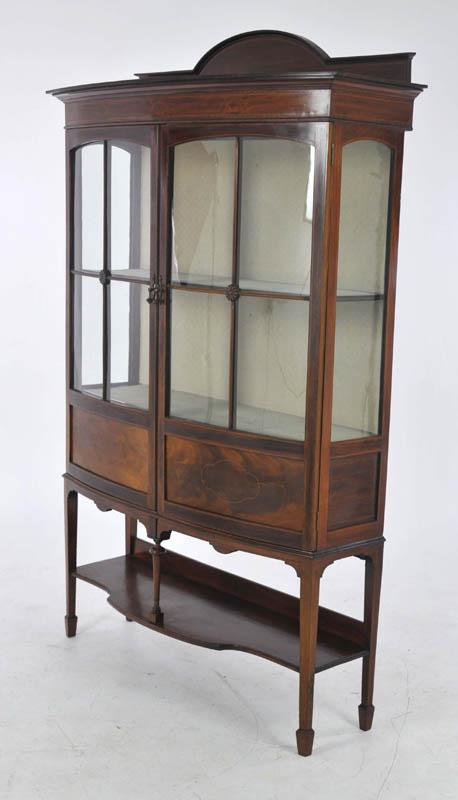 antique china cabinet - Antique China Cabinet, Inlaid Mahogany, Bow Front, Scotland 1910, B993