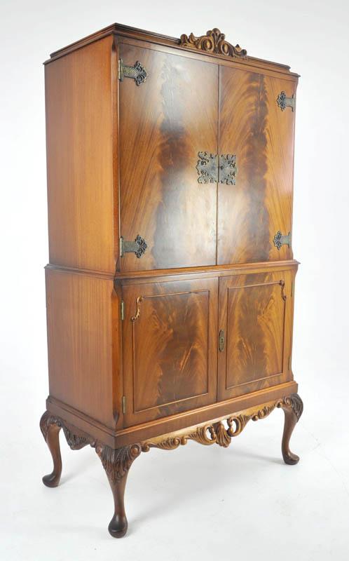 antique drinks cabinet - Antique Drinks Cabinet, Vintage Dry Bar, Walnut, Cocktail Cabinet, B1053