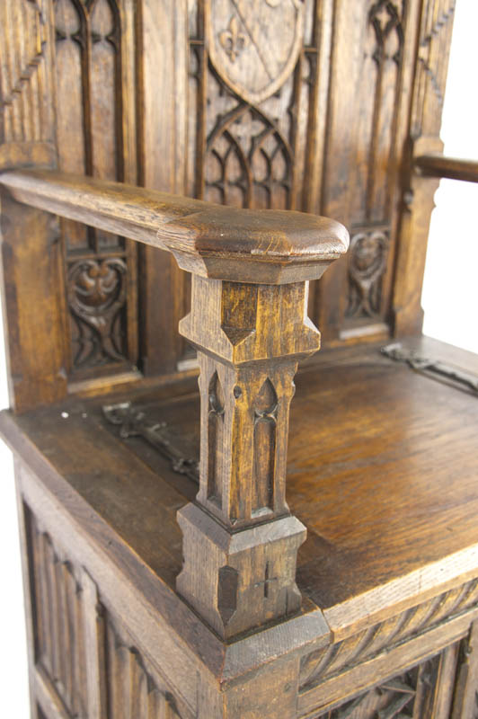 antique hall chair - Antique Hall Chair, Carved Oak Bench, Gothic Chair, France 1890, B1122