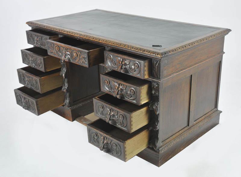 Antique Pedestal Desk - Antique Pedestal Desk, Carved Oak Desk, Scotland 1880, B998