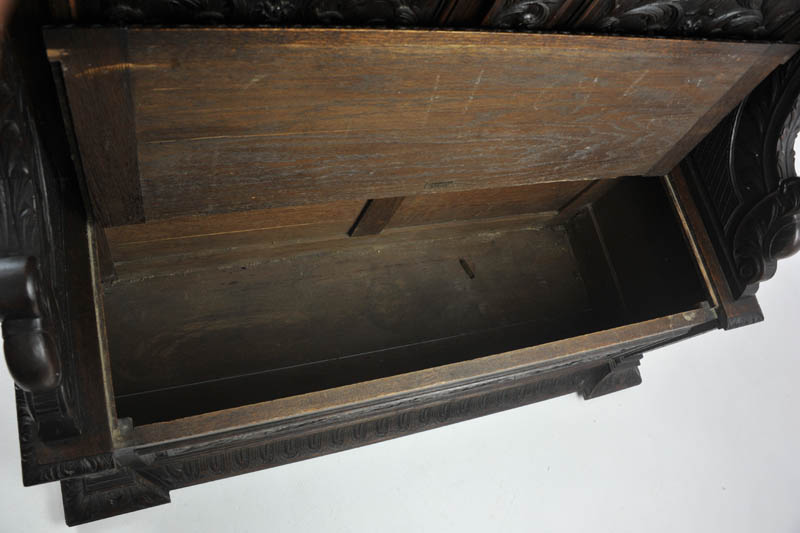 Carved Oak Bench, Antique Hall Bench, Lift Seat, A. Gardner Co., B1004