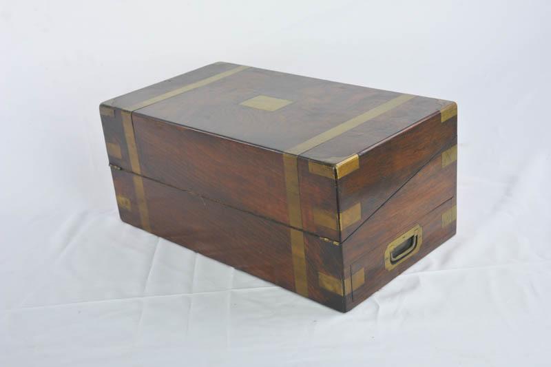 writing slope - Writing Slope, Antique Lap Desk, Marine Walnut Brass, 1870, B1081