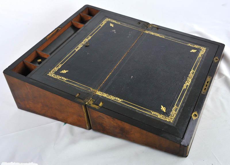 writing slope - Writing Slope, Antique Lap Desk, Marine Walnut Brass, 1870, B1096
