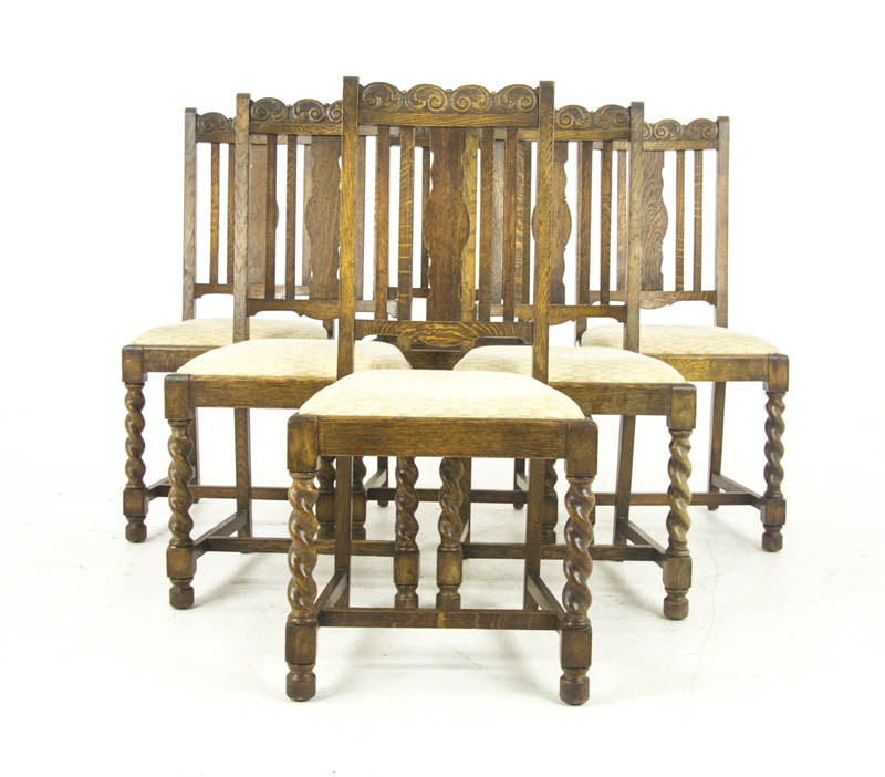 antique dining chairs 6 - Antique Dining Chairs 6, Barley Twist Oak, Scotland 1920, B1052