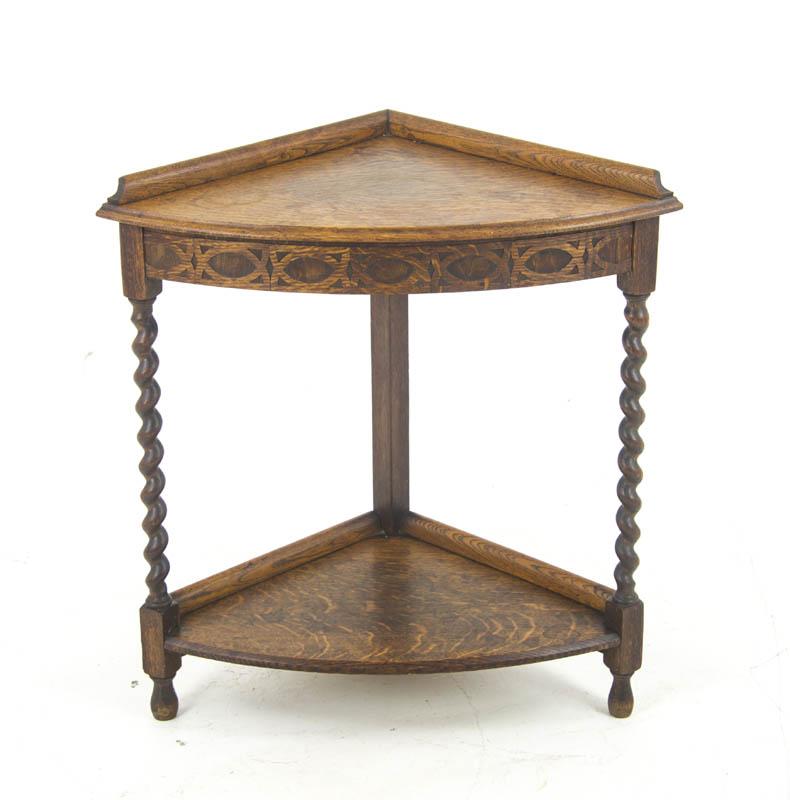 antique corner table - Antique Corner Table, Corner Shelf, End Table, Scotland 1910, B1013