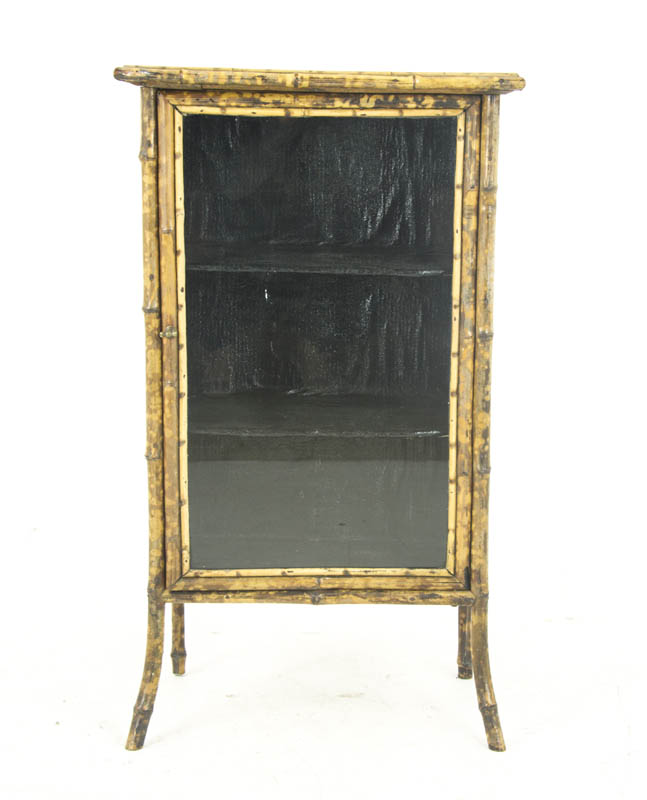 Bamboo Bookcase - Bamboo Bookcase, Antique Display Cabinet, Scotland 1880, B1100
