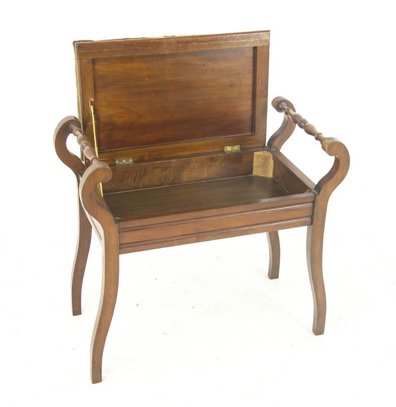 piano bench - Piano Bench, Antique Piano Stool, Upholstered, Scotland 1900s, B986