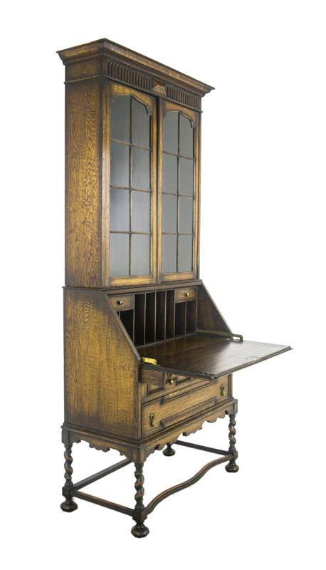 antique secretary desk - Antique Secretary Desk, Victorian Oak Desk, Fall Front Desk,1920, B1027