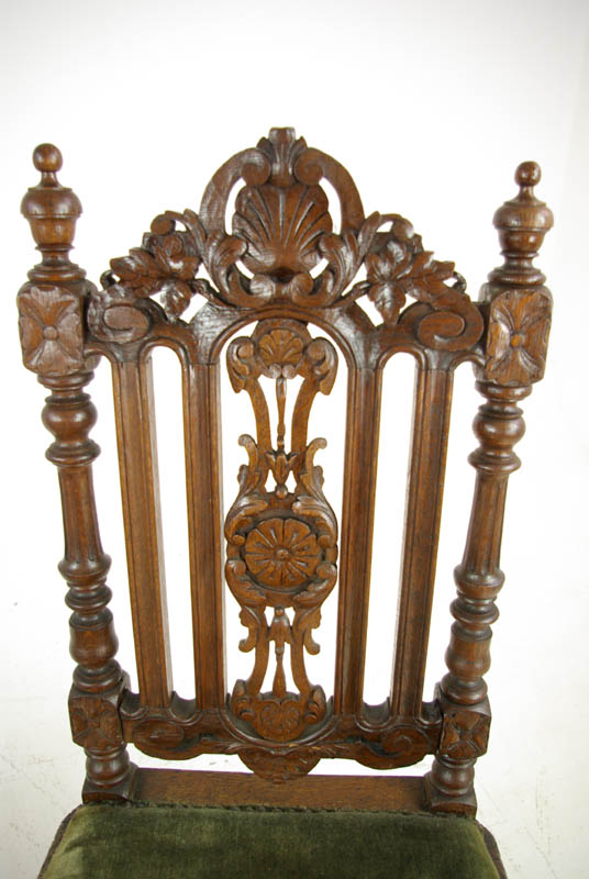 Carved Oak Side Chairs - Carved Oak Side Chairs, Pair Hall Chairs, Victorian Renaissance, B1099