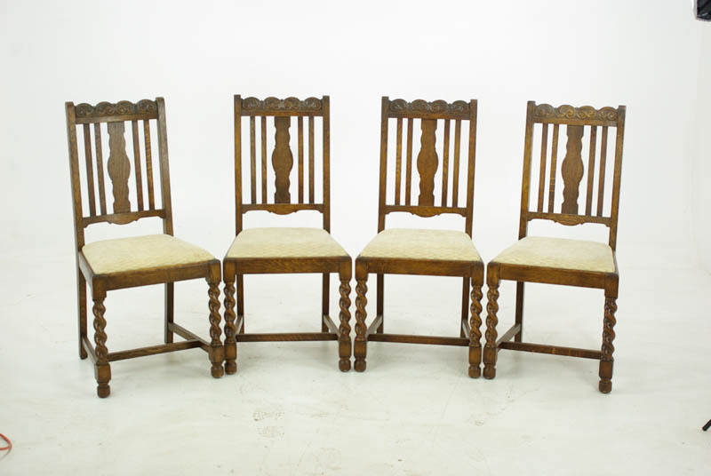 Antique Dining Chairs - Antique Oak Dining Chairs, Carved Oak Chairs, Barley Twist, 1920, B1052