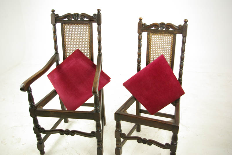 Antique Oak Dining Chairs 6 Jacobean Chairs 4 2 Carved Chairs B961