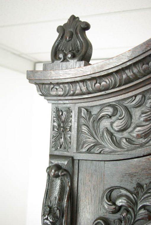 antique carved oak bookcase