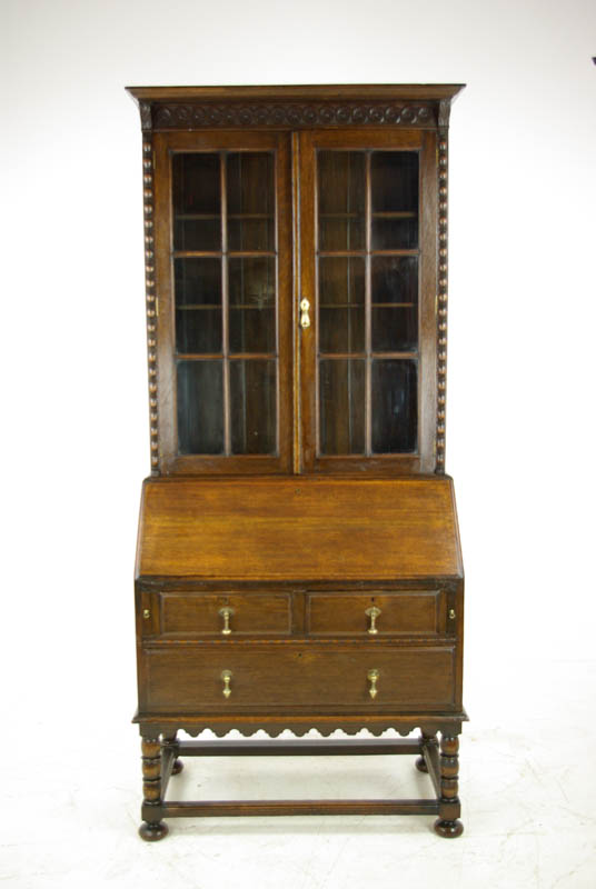 antique oak secretary desk - Antique Secretary Desk, Antique Fall Front, Oak Bookcase, 1920, B1091