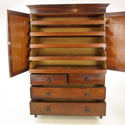 antique mahogany linen press
