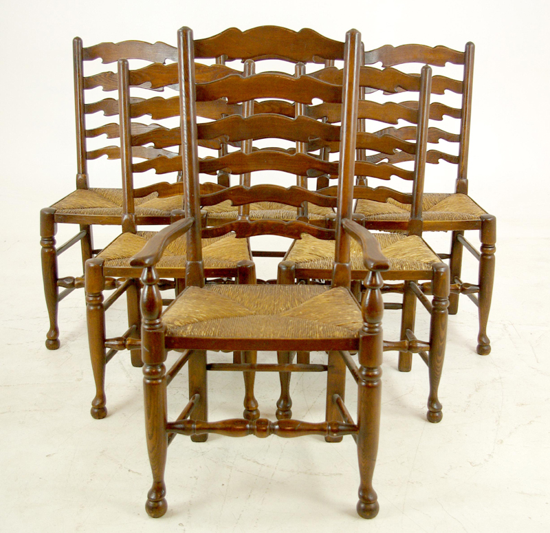 antique ladder back chairs - Antique Ladder Back Chairs, 5+1 Rush Chairs, Rush Seat Chairs, B1154