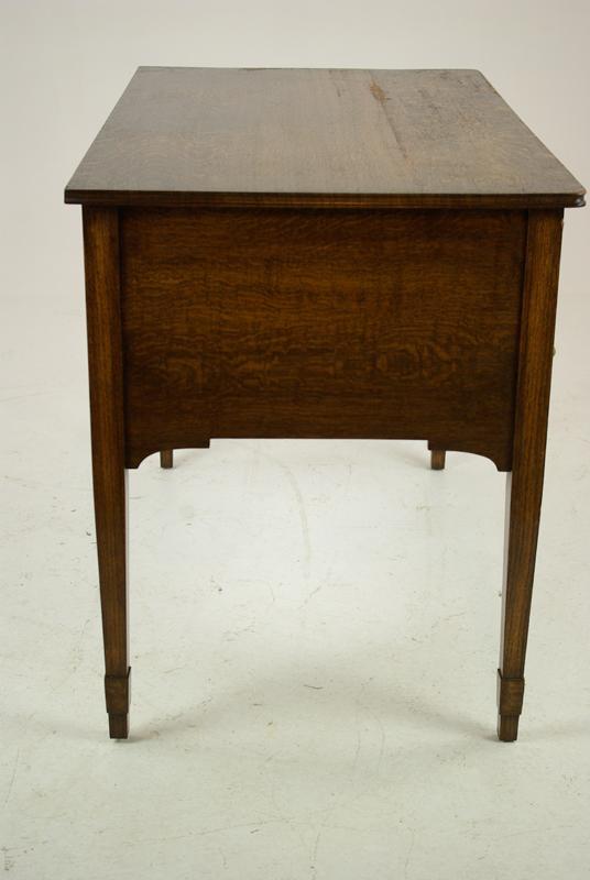 antique oak desk - Antique Oak Desk, Tiger Oak, Oak Writing Table, Scotland 1920, B1289