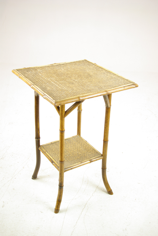 bamboo Furniture - Antique Bamboo Table, Victorian Side Table, Lamp Table, 1900, B1309