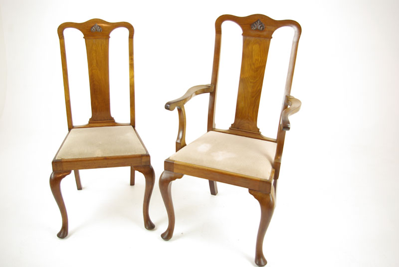 Antique Mahogany Chairs, Queen Anne Chairs, Mahogany Dining Chairs,  Scotland 1920, Antique Furniture, B1196 - Antique Mahogany Chairs, Queen Anne Chairs, Mahogany Dining Chairs