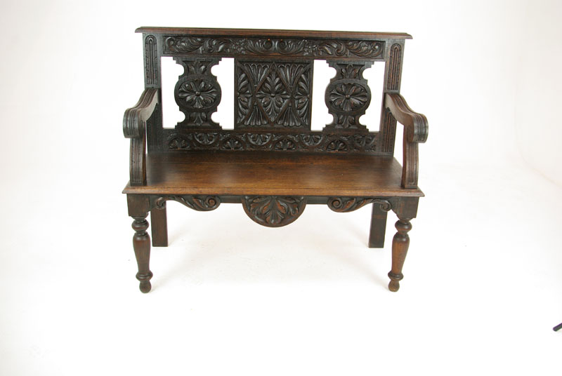 antique hall bench - Antique Hall Bench, Entryway Furniture, Carved Oak,Scotland 1880 B1181