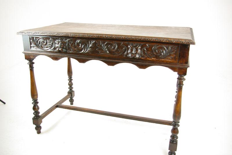 antique oak desk - Carved Oak Desk, Antique Writing Desk, Antique Desk, Scotland 1880