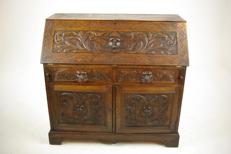 Oak Slant Front Desk - Oak Slant Front Desk, Antique Desk, Carved Desk, Scotland 1880, B1160