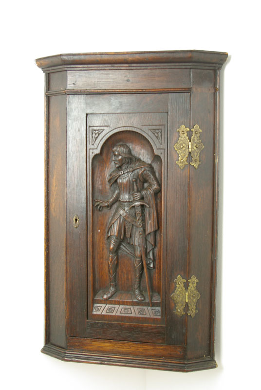 carved oak corner cabinet - Hanging Corner Cabinet, Antique Cabinet, Oak, Scotland 1880, B1332