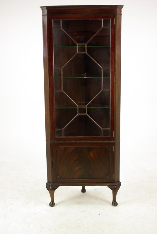 antique corner cabinet - Walnut Corner Cabinet, 2 Door Cabinet, Display, Scotland 1950,B1217