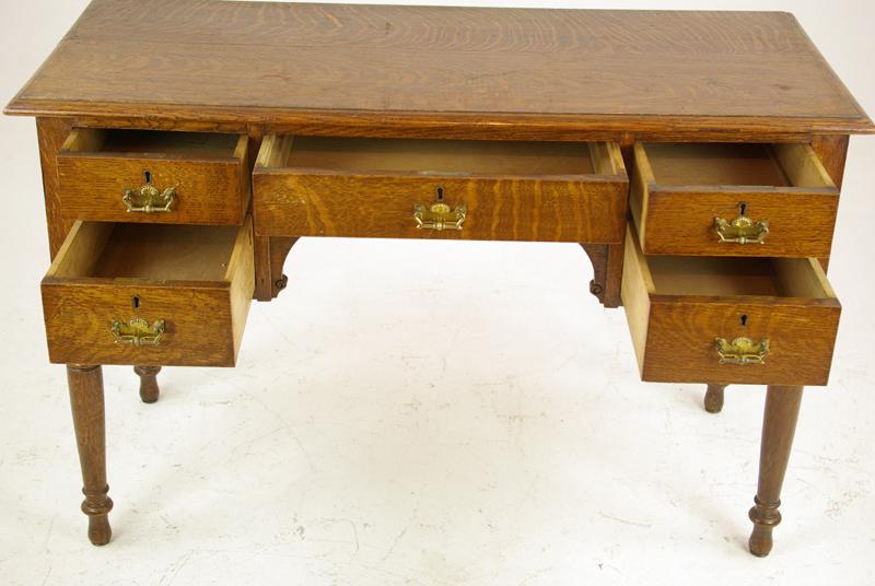 Antique Oak Desk - Antique Oak Desk, Writing Table, Tiger Oak, Scotland 1910, B1293